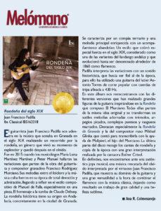 Review of Juan Padilla's album Rondeñas in Melómano