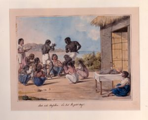 1823 watercolor depicting African dancing by the Magdalena River